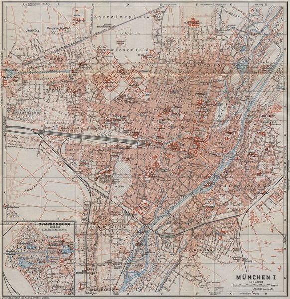 Associate Product MÜNCHEN (MUNICH) town city stadtplan I. Munchen Nymphenburg. Bavaria 1911 map