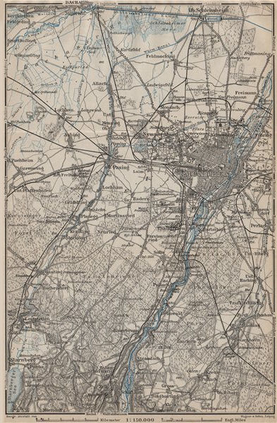 Associate Product MÜNCHEN MUNICH environs/umgebung. Pasing Dachau. Forstenrieder Baier 1911 map