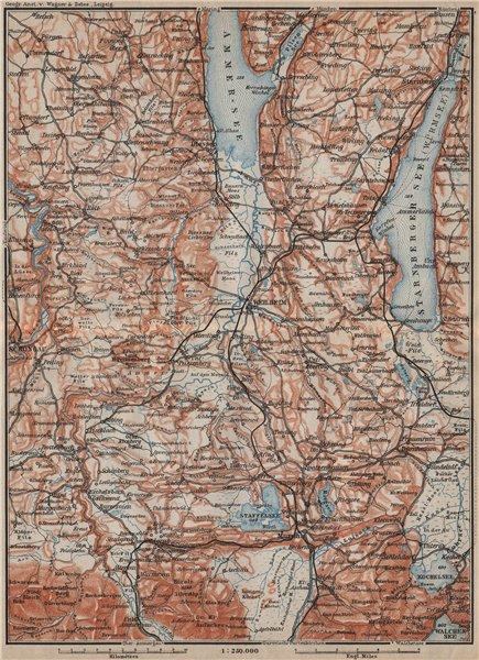 Associate Product STARNBERGERSEE & AMMERSEE. Weilheim Schongau Murnau Starnberg karte 1911 map