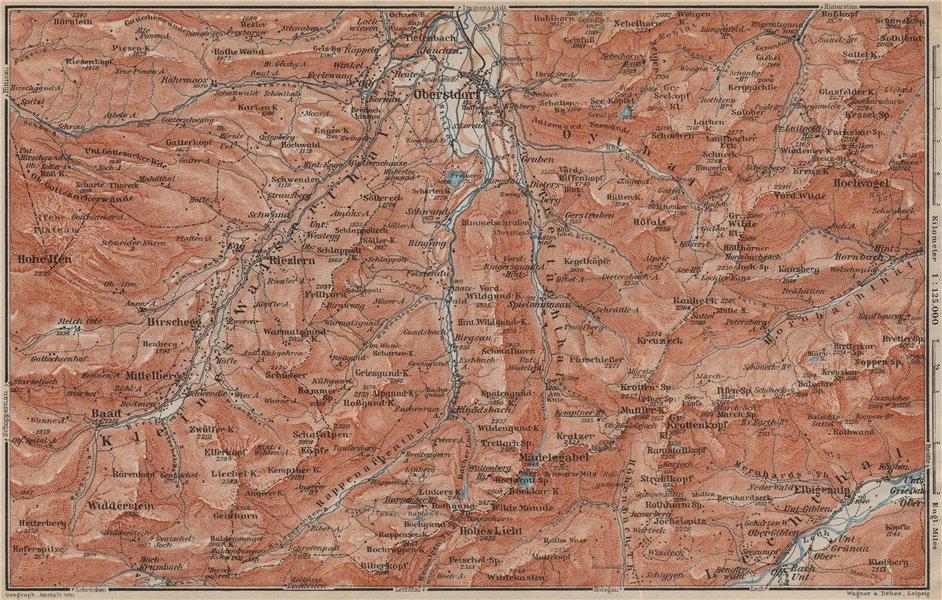 Associate Product OBERSTDORF environs. Mittelberg Riezlern Allgäu Bayerische Alpen karte 1911 map