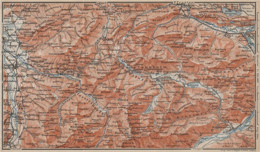 Associate Product NORTH ALLGÄU &  TANNHEIM ALPS. Hindelang Sonthofen Pfronten Tannheim 1911 map