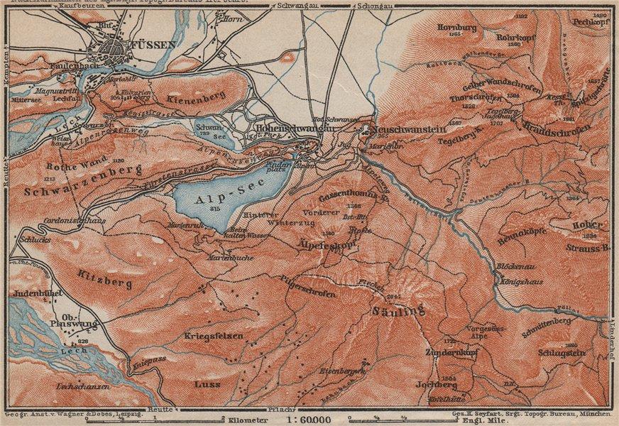 Associate Product HOHENSCHWANGAU  & FÜSSEN environs. Alpsee Deutschland Österreich karte 1911 map