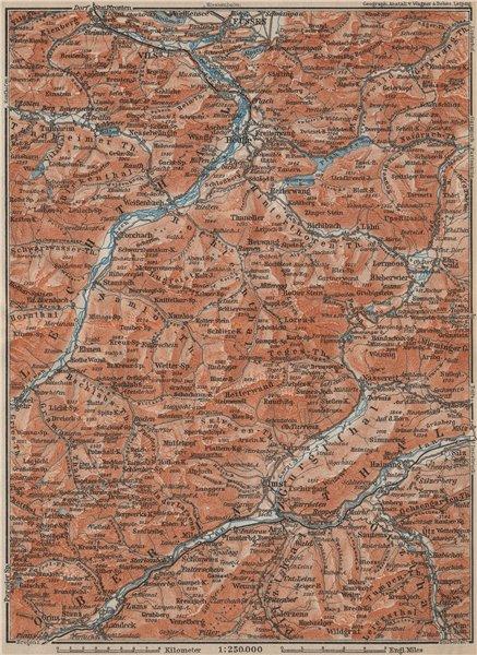 Associate Product Ammergauer & Lechtaler Alpen. Oberinntal. Fussen Imst Reutte. Tirol 1911 map