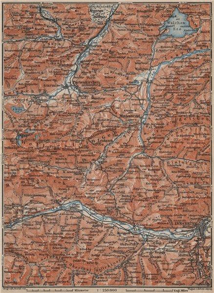 Associate Product WETTERSTEIN Garmisch-Partenkirchen Innsbruck Inntal Mittenwald Oberau 1911 map