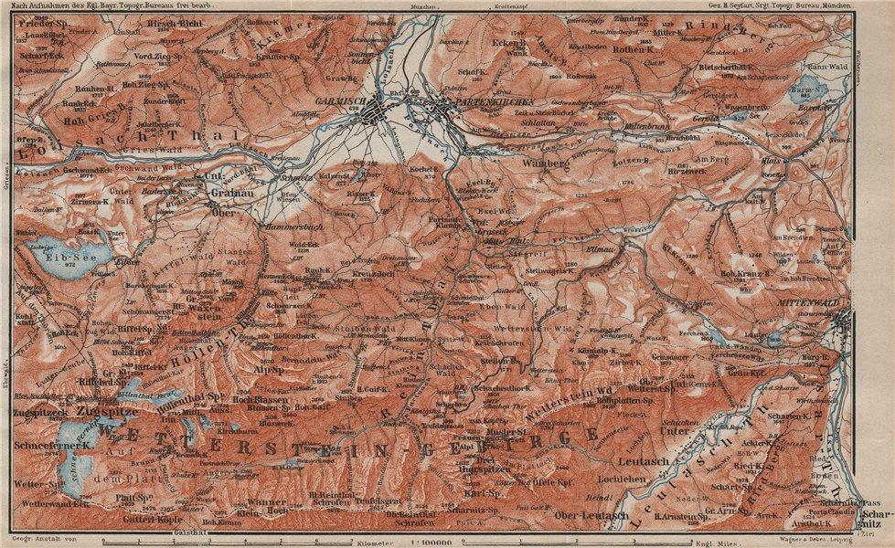 Associate Product GARMISCH-PARTENKIRCHEN environs. Mittenwald. Deutschland/Österreich 1911 map