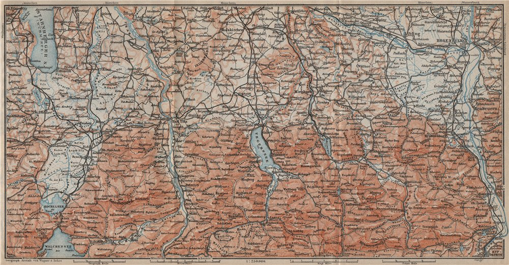 Associate Product BAYERISCHE ALPEN. Bavarian Alps. Lenggries Spitzingsee Bayrischzell 1911 map
