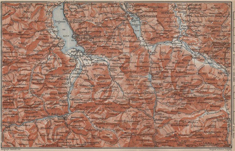 Associate Product MIESBACH DISTRICT. Tegernsee Schliersee Kreuth Bayrischzell Rottach 1911 map