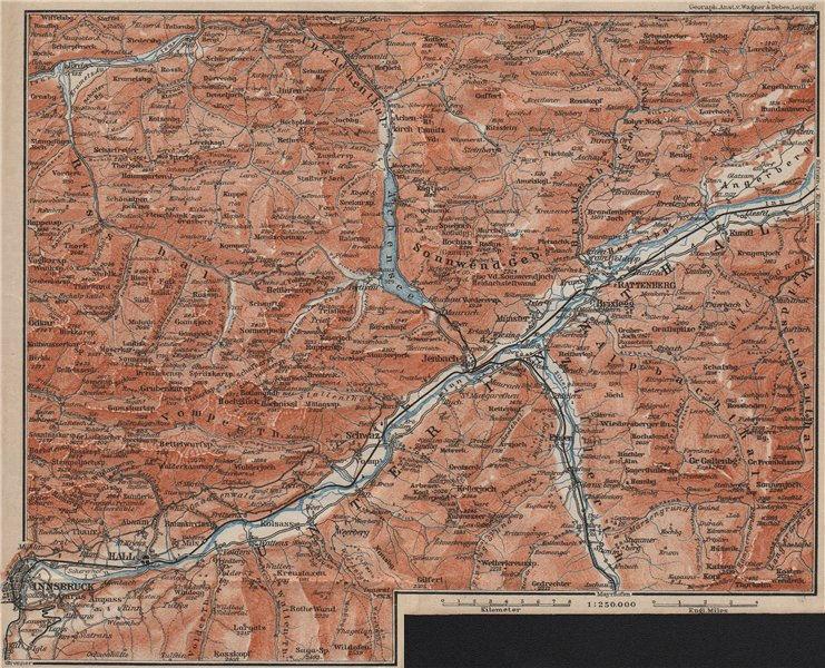 Associate Product Tiroler Unterland. Unterinntal. Inn valley. Innsbruck Tyrol Jenbach 1911 map