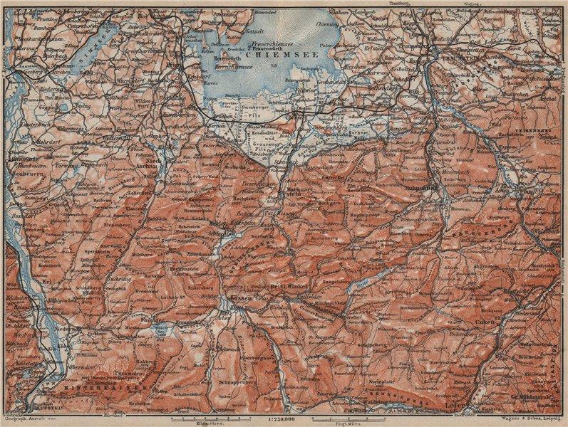 Associate Product CHIEMSEE, CHIEMGAU & environs. Kufstein Traunstein Lofer Kössen karte 1911 map