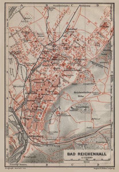 Associate Product BAD REICHENHALL town city plan. Oberbayern Bavaria Germany Deutschland 1911 map