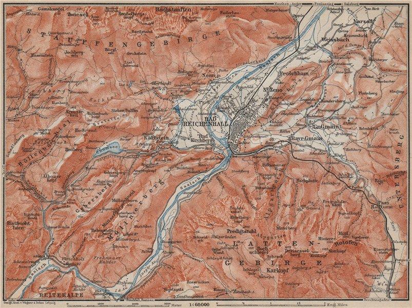 Associate Product BAD REICHENHALL environs. Germany Deutschland karte. BAEDEKER 1911 old map