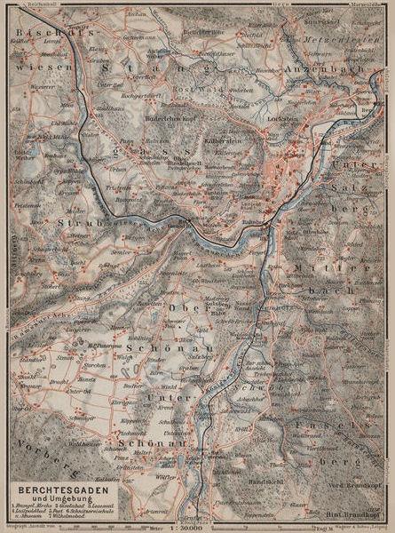 Associate Product BERCHTESGADEN und umgebung/environs. Oberbayern Germany Deutschland 1911 map