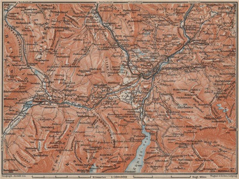 Associate Product BERCHTESGADEN environs topo-map. Hallein Bayern Berchtesgadener Land 1911