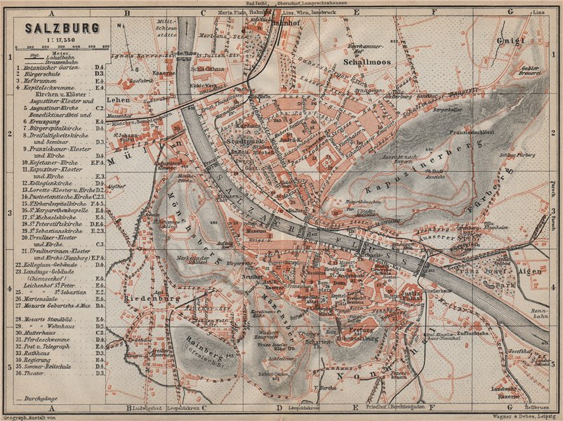 Associate Product SALZBURG antique town city plan stadtplan. Austria Österreich karte 1911 map
