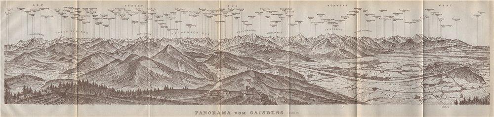 Associate Product PANORAMA VOM GAISBERG. Salzburg. Salzach valley. Austria Österreich 1911 map