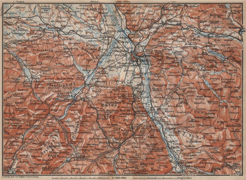 Associate Product SALZBURG environs. Berchtesgaden Faistenau Seekirchen Reichenhall 1911 old map