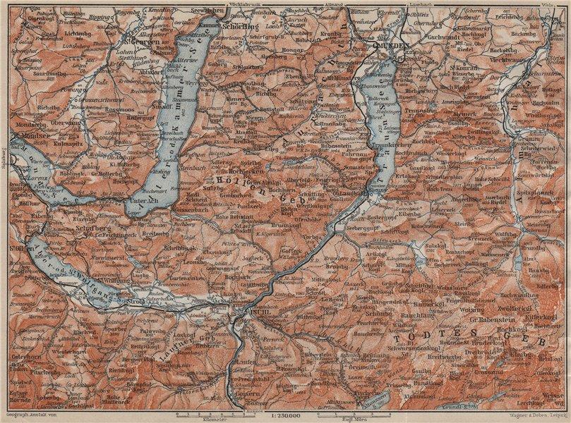 Associate Product NORTH SALZKAMMERGUT. Gmunden Ischl Hallstatt. Altmunster Ebensee karte 1911 map