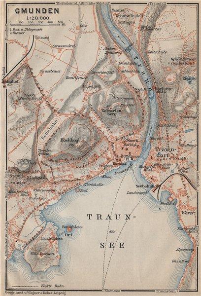 Associate Product GMUNDEN antique town city plan stadtplan. Austria Österreich karte 1911 map