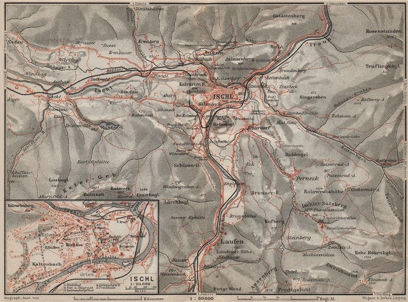 Associate Product BAD ISCHL antique town city plan stadtplan. Austria Österreich karte 1911 map