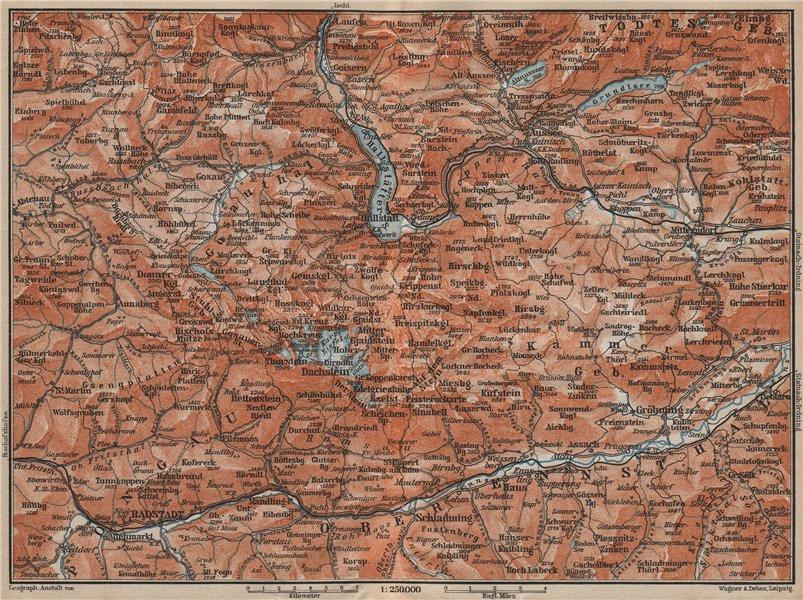 Associate Product SOUTH SALZKAMMERGUT. Bad Aussee Dachstein Schladming Mitterndorf karte 1911 map