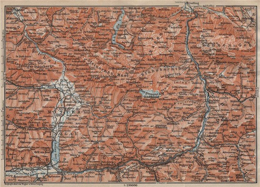 Associate Product KONIGSSEE & ENVIRONS. Saalfelden Tazenbach Golling Zel-am-See Wagrain 1911 map