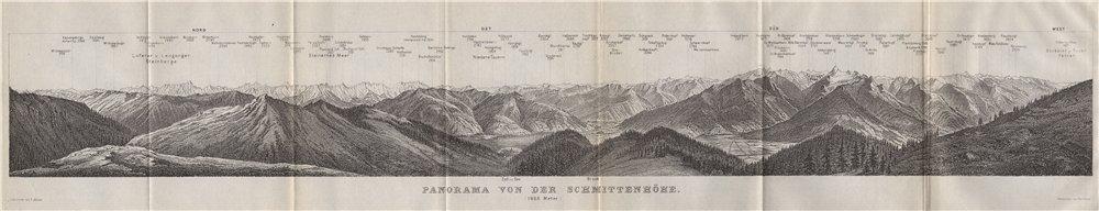 Associate Product PANORAMA from/vom SCHMITTENHÖHE. Kitzbühler Alpen Tirol Österreich 1911 map