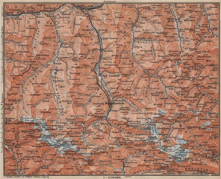 Associate Product HOHE TAUERN & GASTEINER TAL Ankogelgruppe Goldberggruppe Bad Gastein 1911 map