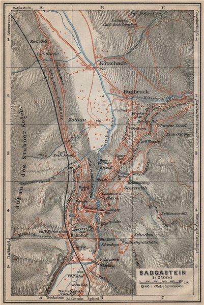 Associate Product WILDBAD/BAD GASTEIN town plan stadtplan & environs. Austria Österreich 1911 map