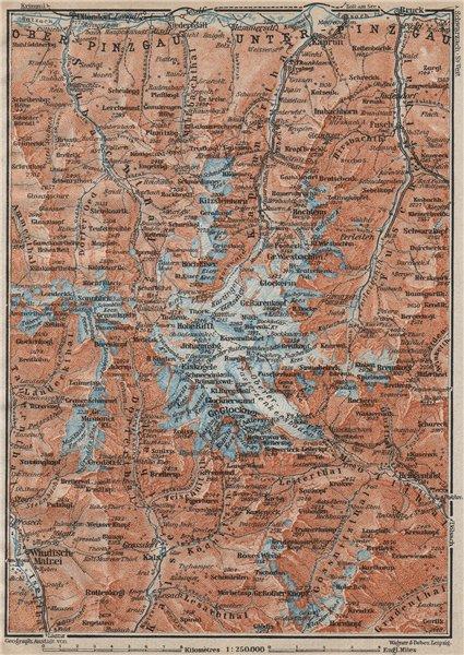 Associate Product GLOCKNERGRUPPE. HOHE TAUERN. UNTERPINZGAU. Kaprun Matrei Grossdorf 1911 map