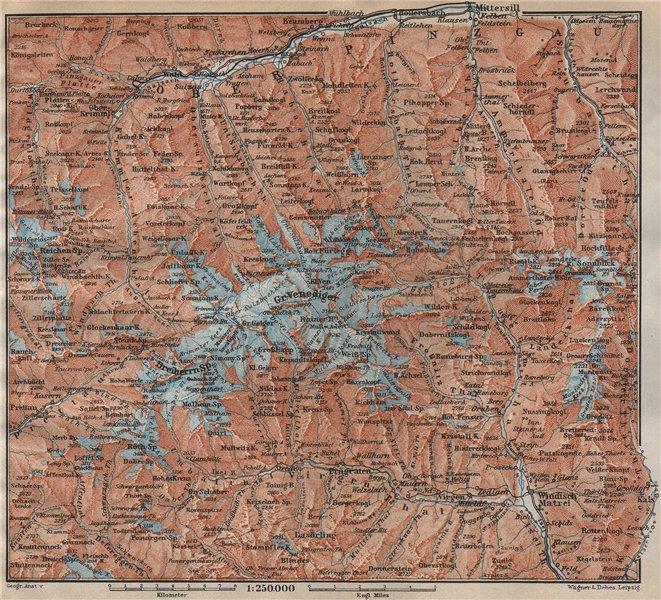 Associate Product VENEDIGERGRUPPE. OBERPINZGAU. HOHE TAUERN. Mittersill Prägraten  karte 1911 map