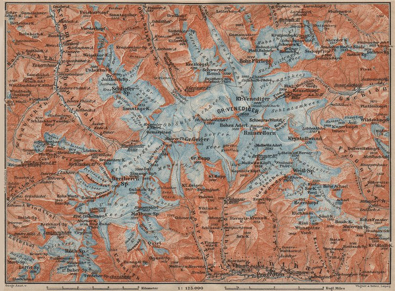 Associate Product Gross VENEDIGERGRUPPE Group topo-map. Prägraten. Austria Österreich 1911