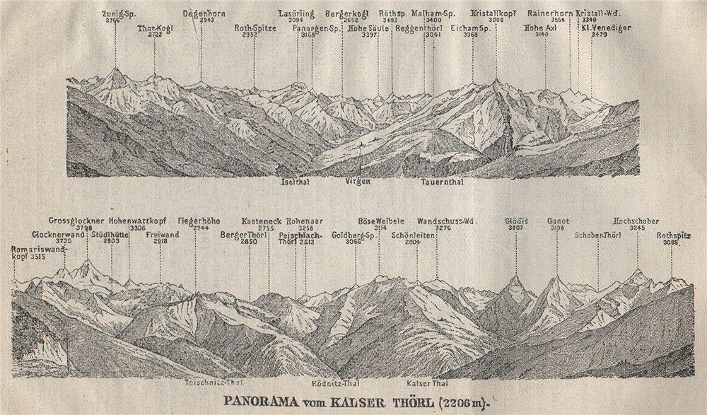 Associate Product KALSER THÖRL Panorama. Grossglockner. Kals-Matrei. Hohen Tauern. SMALL 1911 map