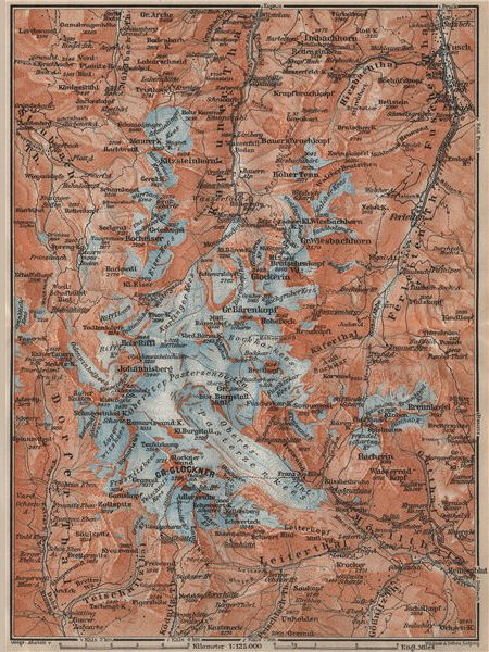 Associate Product GLOCKNERGRUPPE Grossglockner topo-map. Austria Österreich karte 1911 old