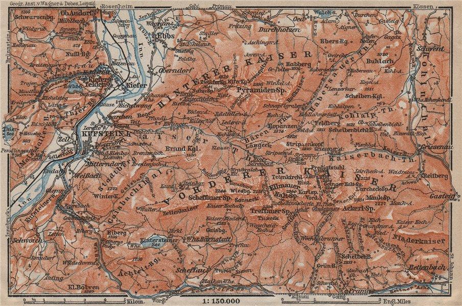 Associate Product KUFSTEIN environs. Kaisergebirge. Zahmer/Wilder Kaiser Tirol Tyrol 1911 map