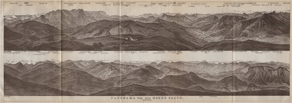 Associate Product PANORAMA from/vom HOHEN SALVE. Kitzbühler Alpen Tirol Österreich karte 1911 map