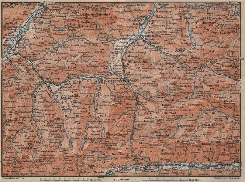 Associate Product WÖRGL/KITZBÜHEL environs. Söll Brixen Kirchberg St Johann Tyrol Tirol  1911 map