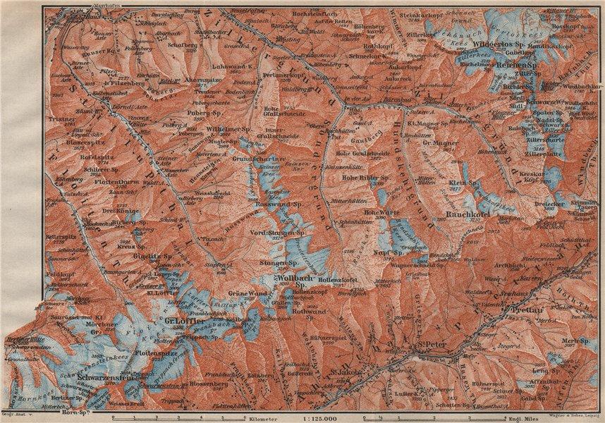 Associate Product EASTERN ZILLERTAL. Ahrntal Valle Aurina Prettau Schwarzenstein Südtirol 1911 map