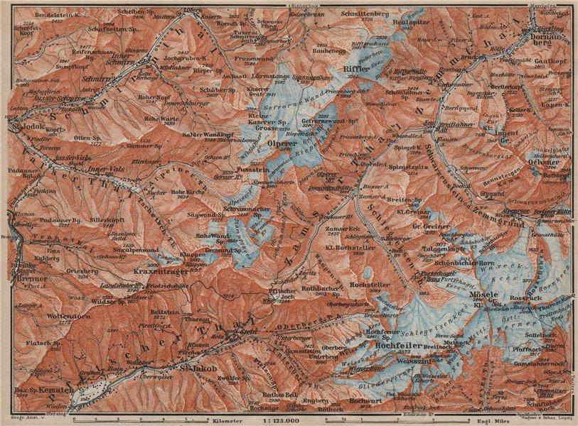 Associate Product WESTERN ZILLERTAL Pfitscher Tal St Jodok Olperer Zillertaler Alpe 1911 old map