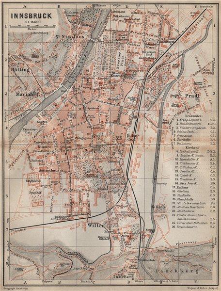 Associate Product INNSBRUCK antique town city plan stadtplan. Austria Österreich karte 1911 map