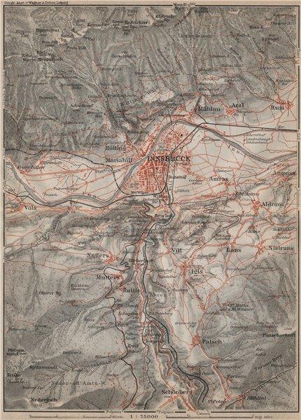 Associate Product INNSBRUCK ENVIRONS Umgebung. Thaur Gotzens Igls. Austria Österreich 1911 map