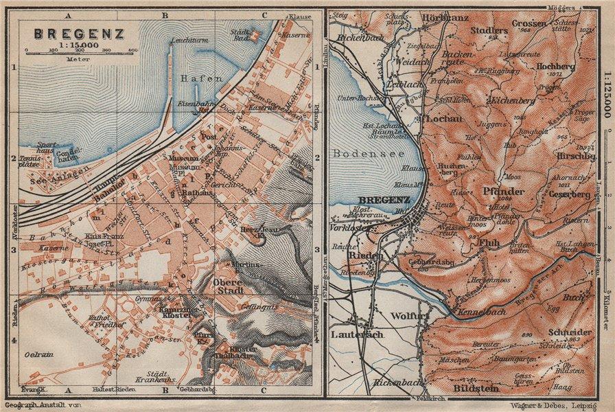 Associate Product BREGENZ town city stadtplan and environs. Österreich Austria karte 1911 map