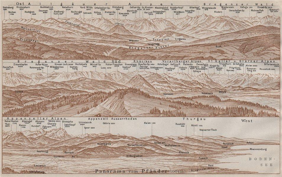 Associate Product PANORAMA from/vom PFÄNDER (1064m). Vorarlberg. Österreich. Pfander 1911 map