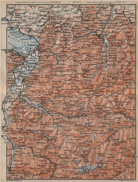 Associate Product VORARLBERG & BREGENZER WALD. Bludenz St Anton Zürs Lech See Ischgl 1911 map