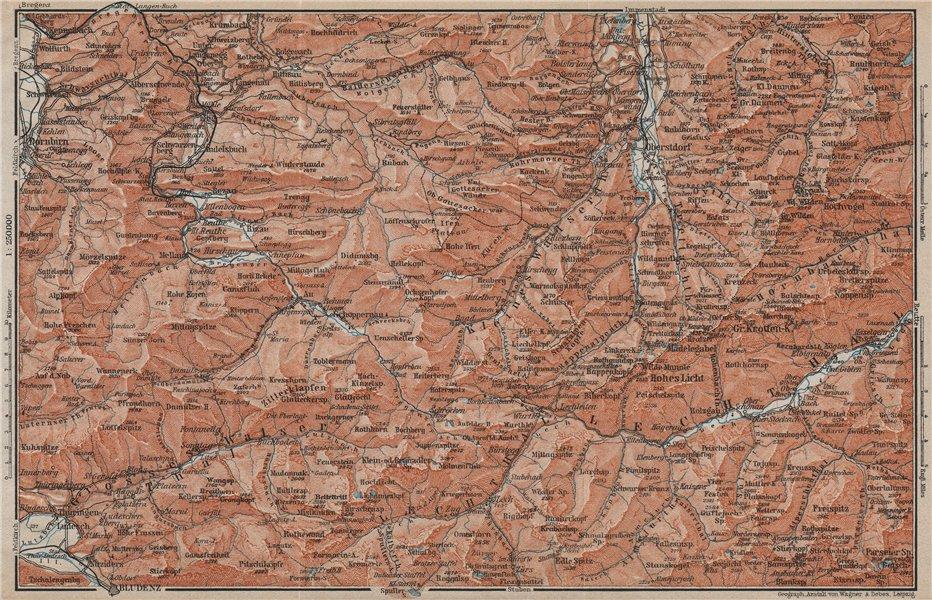 Associate Product BREGENZERWALD & ALLGÄUER ALPEN. Blundez Oberstdorf Damüls Mittelberg 1911 map