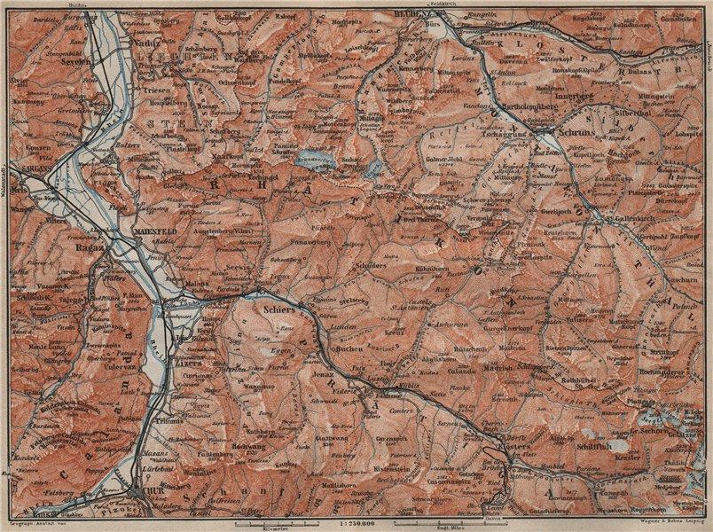 Associate Product RÄTIKON. Bad Ragaz Montafon Prättigau Klosters Blundenz Schruns Chur 1911 map