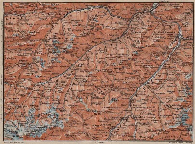 Associate Product SAMNAUNGRUPPE VERWALLGRUPPE Paznauntal Oberinntal St Anton Ischgl 1911 old map
