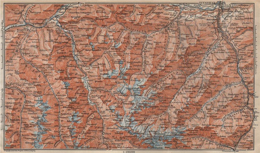 Associate Product STUBAIER ALPEN. Stubaital Ötztal Pitztal. Solden Kühtai Innsbruck  1911 map