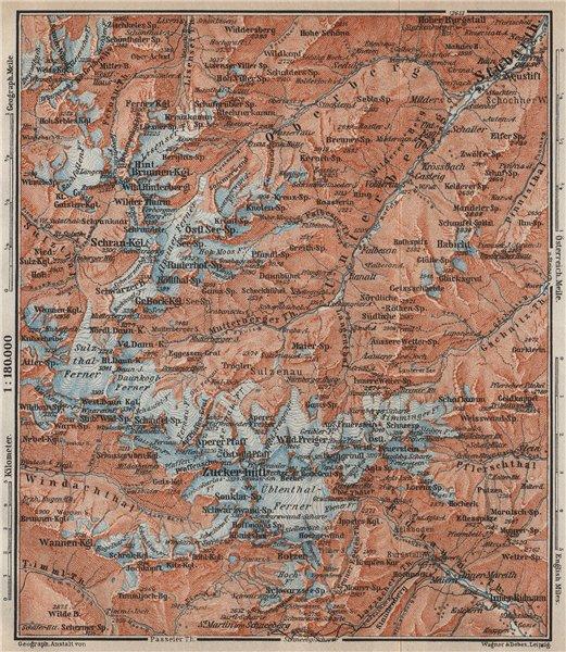 Associate Product STUBAI ALPS Stubaier Alpen. Neustift im Stubaital Tirol Tyrol topo-map 1911