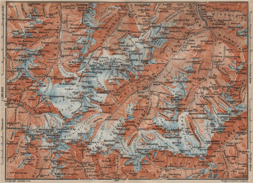 Associate Product UPPER ÖTZTAL Solden Obergurgl Wildspitze Tyrol Tirol topo-map. Austria 1911
