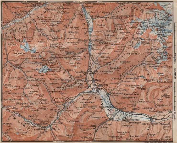 Associate Product UPPER/OBERVINTSCHGAU. Val Venosta. Glurns Glorenza Laas Graun Südtirol 1911 map